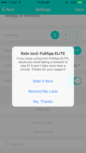 ionic app rate