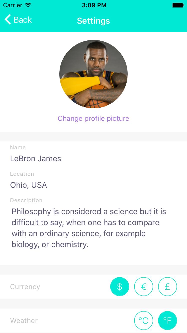 ionic 3 profile page