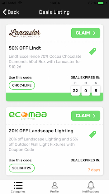 ionic coupons app