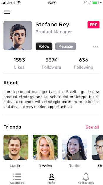 ionic profile page