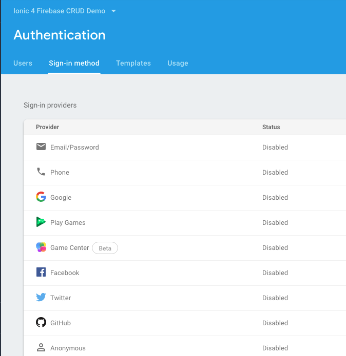 Firebase app credentials
