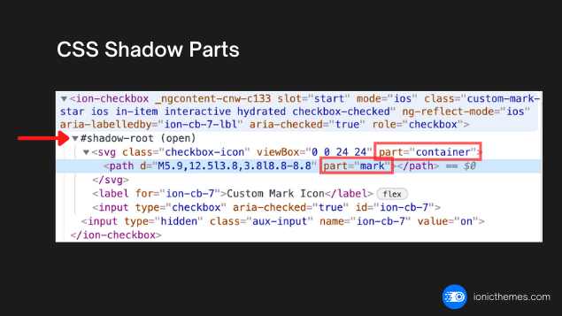 Ionic CSS shadow parts