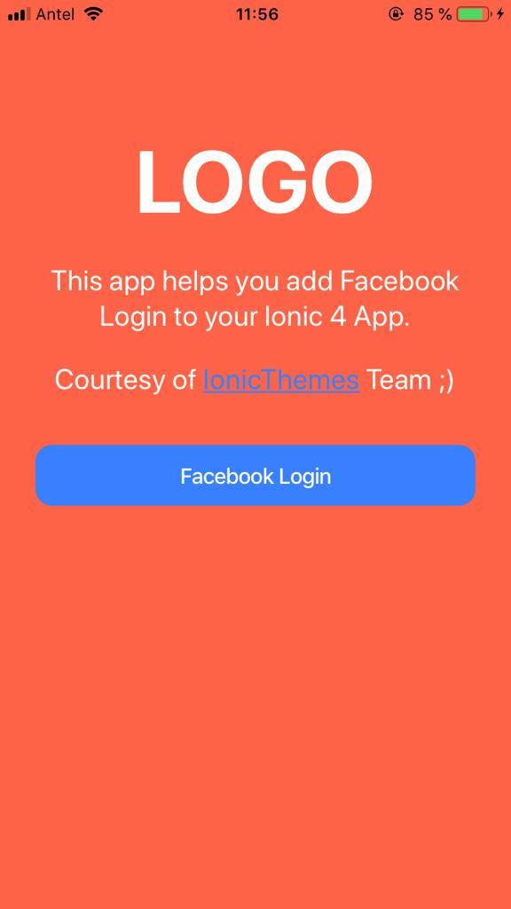 Ionic facebook app