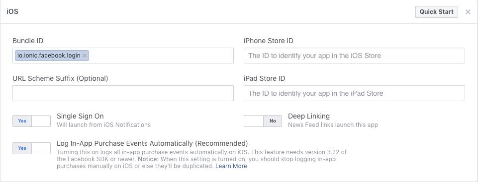 facebook app configurations