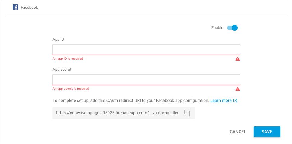 Facebook Firebase authentication