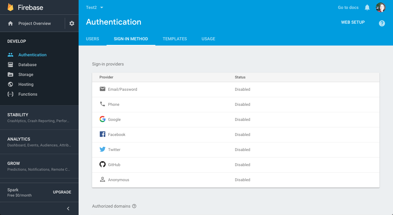 setting up Firebase authentication in Ionic