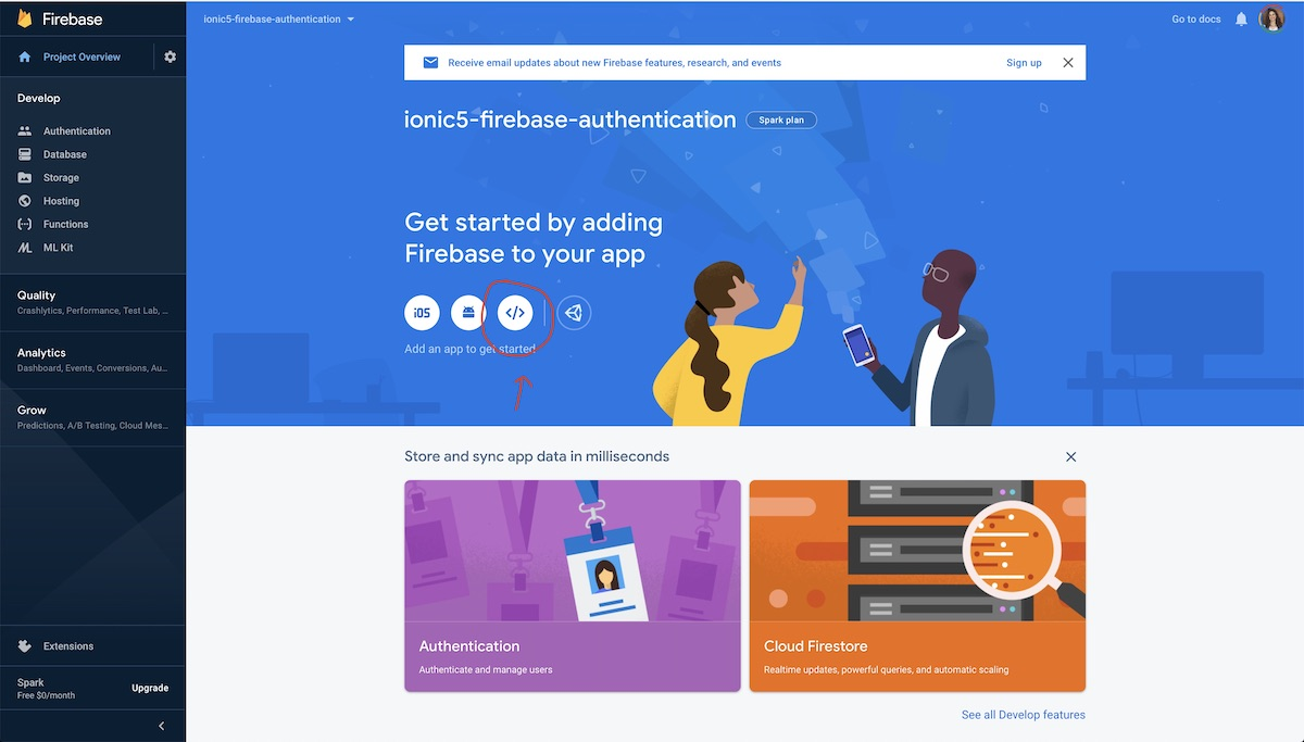 setting up Firebase authentication
