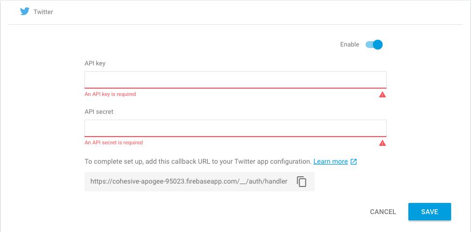 Twitter Firebase authentication