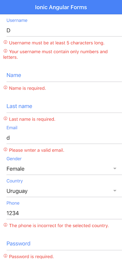 Forms and Validation in Ionic