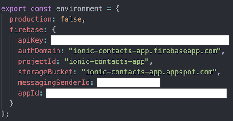 firebase ionic credentials