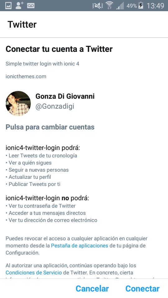 Ionic twitter login